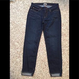 Eileen Fisher Denim Jeans, Frayed Hi Lo Hem, 10P